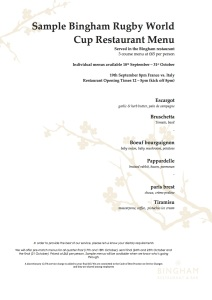 France v Italy Restaurant sample menu